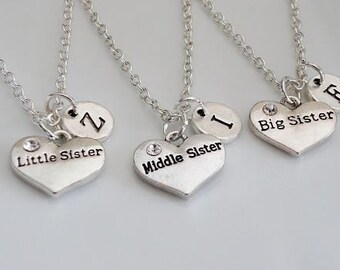 Big Sister, Middle Sister, Little Sister necklaces, set of 3 sisters necklaces, Personalized sisters Necklaces, Big Mid Lil Sisters gifts