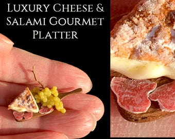 Luxury Soft Cheese & Salami Platter - Artisan fully Handmade Miniature in 12th scale. From After Dark miniatures.