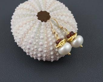 Freshwater Pearl Earrings,Pearl Small Earrings,Gold Filled Earrings,Garnet Earrings,Dainty Earrings, Delicate Earrings,Bridal Jewelry