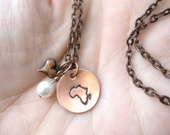 Hand Stamped Copper AFRICAN ADOPTION Necklace with vintage pearl and copper heart charm