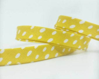 Art Gallery Bias Tape -  1/2 in Double Fold Bias Tape - 12mm - Scattered Shower Warm - Yellow Dot Bias Tape - Day Trip Fabric