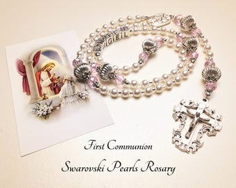 Personalized First Communion Rosary. Swarovski Pearls. White Rosary. Catholic Rosary. Catholic Gift. Communion Gift. Baby Rosary. #2R102
