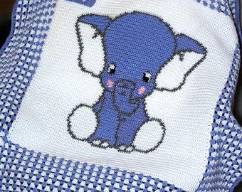 Crochet Blanket Pattern - Crochet Baby Blanket Pattern - Elephant Blanket Pattern - Baby Afghans - Crochet Patterns - Elephant Patterns