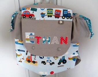 Kindergarten, personalized backpack RESERVE HUGO, theme, fire trucks, construction vehicles.