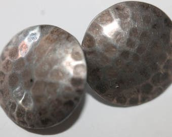 Vintage sterling silver hammered round earrings posts