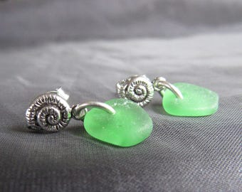 Sea Glass Post Earrings /  beach glass studs / sea glass jewelry / seashell earrings / sterling silver earrings / beachy jewelry