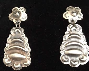 Sterling Silver Drop Earrings, Navajo