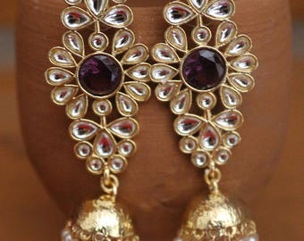 Indian jewelry traditional jewelry high quality gold plated stone Kundan earrings with jhumki