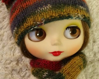 Hand Knitted Hat and Scarf for Blythe Doll (# 0014)