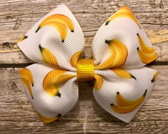 banana hair bow, hair bows, hair clips, girls hair bows, hair bows for girls, bananas, fruit bows, kids bows