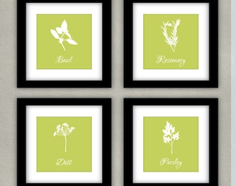 Herbs Kitchen Art Print Set - Parsley, Basil, Dill, Rosemary