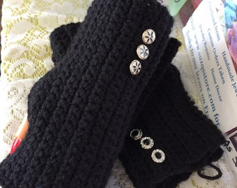 Black, Fingerless, Gloves, Ladies, Crocheted