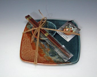Handmade Square Stoneware Pottery Rustic Blue Ridge Sushi Set for One