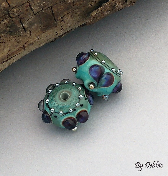 Lampwork Beads Glass Beads Lampwork Earrings Heart Beads Earrings Jewelry Supplies Bead Beading Supplies Beads Round Beads Debbie Sanders