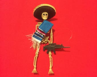 Blue Sarape day of the dead skeleton ornament with a gun #9