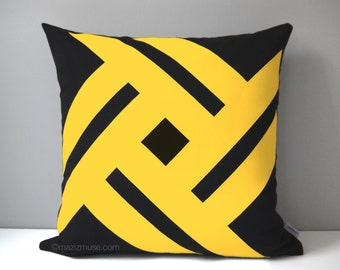 Decorative Black & Yellow Outdoor Pillow Cover, Geometric Pillow Cover, Modern Pillow Cover, Sunbrella Cushion Cover, Mazizmuse Pinwheel