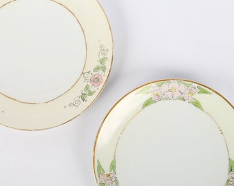 """1920's (2) H&Co SELB BAVARIA, (2) Different Floral Hand Painted Border,  Gold Trim 7-1/2"""" Plates, Great Antique Cond., Naive, Sweet"""