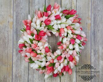 Tulip Wreath, Valentines Wreath, Spring Wreath, Mothers Day Wreath, Easter Wreath, Front Door Wreath, White and Pink Tulips, Summer Wreath