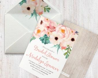 Boho Succulent Bridal Shower Invitation, Floral Succulent Bridal Shower Invitation, Boho Chic Bridal Shower Invite, Envelope Liner