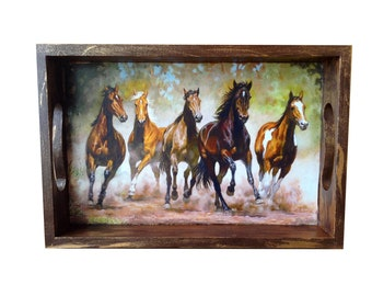 Hand decorated tray, Horses serving tray wood Original Jewelry tray Large kitchen decor Rustic art home Housewarming / Wedding wooden gift