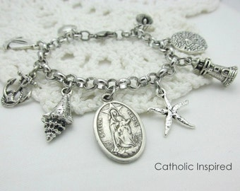 Stella Maris Charm Bracelet Our Lady Star of the Sea - Blessed Mother Medal Ocean Beach Lighthouse Anchor Catholic Jewelry Stainless Steel