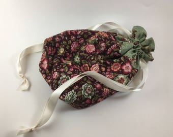 Burgundy and Green Floral Project/Gift Bag