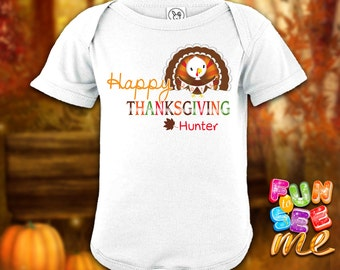 Happy Thanksgiving - Personalized with Name Bodysuit / Onesie / Boys / Girls / New Baby / Shower Gift