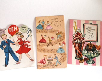 Vintage 1950s Birthday Cards- Lot of 3 Great Mid-century Illustrations!