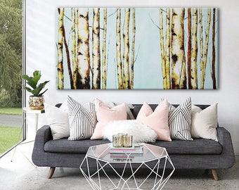 extra large abstract birches landscape giclee print on canvas blue sky grey brown birches modern horizontal wall art