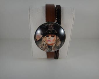 Top quality: 2 genuine leather Bracelet Brown strands and glitters with snap chunk interchangeable glass 30mm