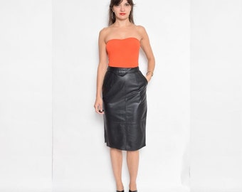 Vintage 90's Black Real Leather Pencil Skirt / High Waisted Black Leather Skirt - Size Extra Small