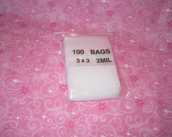 100 Clear Plastic Bags, Plastic Zip Bags, Reclosable Bags, Jewelry Storage Bag, Poly Bags, Zip Baggies, Small Zip Bags 3x3
