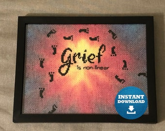Grief is non-linear Cross Stitch Pattern Instant PDF Download