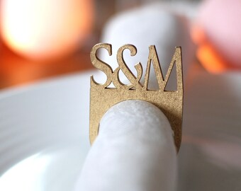 Custom napkin rings, Wedding napkin rings, Wood napkin rings, Golden napkin rings, Monogram napkin rings, Personalized table decors