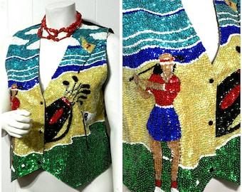 Shiny Vintage Sequin Vest 80's Sequined Vest Silk Beaded Vest Novelty Sparking Vest Festival Goff Retro Vest