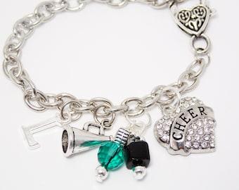 Cheerleading Bracelets, Charm Bracelets, Cheerleader Jewelry, Personalized, Green & Black