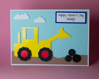 Handmade Digger/Tractor Birthday/Fathers Day card, boys birthday card, childrens birthday card, digger card, tractor card, 1st birthday card