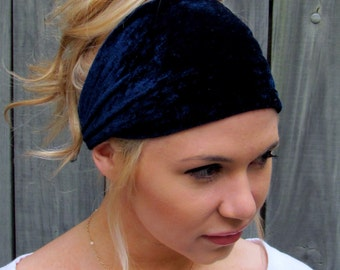 Velour Wide Headband Yoga Stretch Navy Blue Headband Womens Wide Head Wrap Turband Workout Yoga HeadBand or CHOOSE Your Color