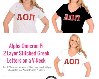 Alpha Omicron Pi Shirt . V-Neck . Two Layer Stitched Greek Letters