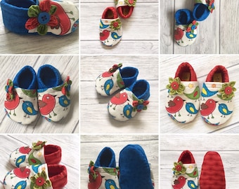 Birds Baby Girls Shoes , Baby Booties, Baby Shoes, Blue, red, green cotton Fabric, accesorizes, original, accessories, crawl shoes, gift