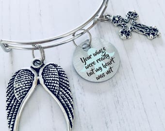 Bereavement Jewelry, Your Wings Were Ready, My Heart Was Not, Remembrance Gift, Angel Wings Bracelet, Memorial Bangle, WORLDWIDE SHIPPING.