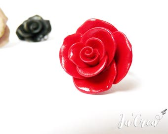 Red rose ring with polymer clay