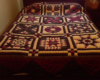 OLE FASHIONED SAMPLER, handmade quilt, queen size quilt, quilts for sale, patchwork quilt