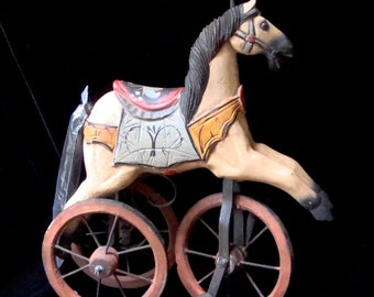 Vintage Toy Horse on Wheels