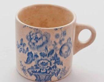 Vintage Charlotte Royal Crownford Ironstone England Glazed Blue Floral Mug