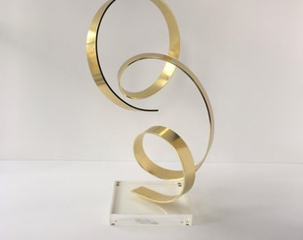 Dan Murphy Sculpture, Vintage Abstract Metal Sculpture, Early Dan Murphy Ribbon Sculpture, Modern Art, Original North Carolina Art