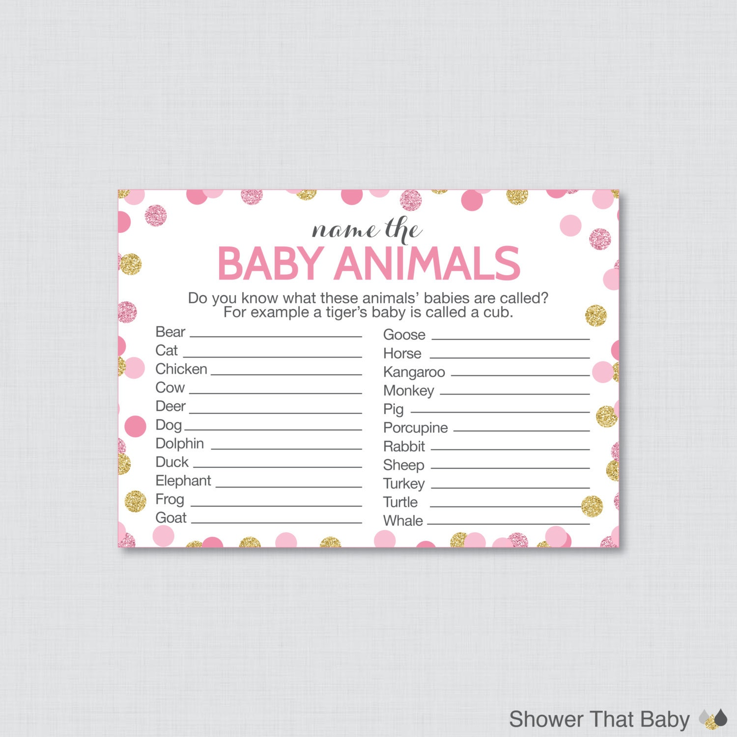 Printable baby animals name game for baby shower in pink and zoom ptc cofo  Choice Image