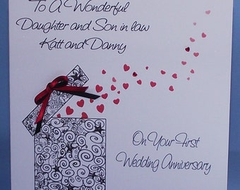 Personalised Handmade 1st  to 40th Wedding Anniversary card.