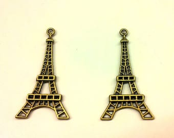 Set of 10 Eiffel Tower charms - metal bronze T32