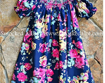 Girls Smocked Bishop Dress- Navy Pink Floral Rose Fabric by Smocked A Lot Birthday Vintage Inspired